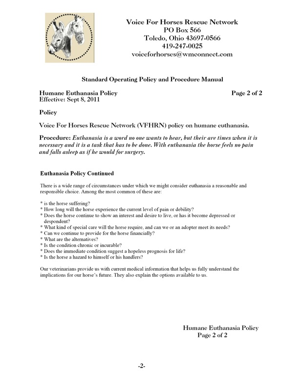 Vfhrn Policies - Voice For Horses Rescue Network An Ohio 501 (C)(3